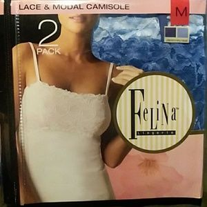 NWT Felina Lingerie 2-pack lace & modal camisoles